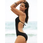cheap Stylish Women's Plunging Neck Open Back One Piece Swimwear