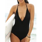 Stylish Women's Plunging Neck Open Back One Piece Swimwear