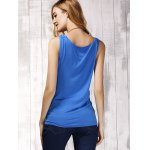 Stylish Women's Scoop Neck Sleeveless Pure Color Tank Top for sale