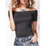 Stylish Women's Off The Shoulder Short Sleeve Pure Color T-Shirt