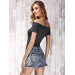 Stylish Women's Off The Shoulder Short Sleeve Pure Color T-Shirt deal