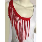 cheap Stylish Women's Fringed Scoop Neck Tank Top