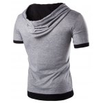 cheap Hooded Color Block Splicing Flase Twinset Short Sleeve Men's T-Shirt