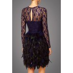 cheap Lace Bodice Feather Prom Dress