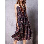 cheap Stylish Cami Sleeveless Bohemian Print Women's Dress