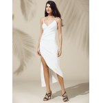 cheap Alluring Plunging Neck Asymmetric High Slit Solid Color Sleeveless Women's Dress