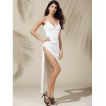Alluring Plunging Neck Asymmetric High Slit Solid Color Sleeveless Women's Dress deal