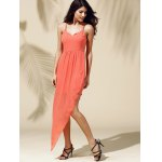 Fashionable Spaghetti Straps Solid Color Asymmetrical Dress For Women deal