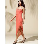 Fashionable Spaghetti Straps Solid Color Asymmetrical Dress For Women for sale