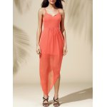 Fashionable Spaghetti Straps Solid Color Asymmetrical Dress For Women