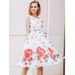 Elegant Scoop Neck  Sleeveless Floral Print Chiffon Dress For Women deal