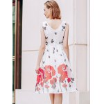 Elegant Scoop Neck  Sleeveless Floral Print Chiffon Dress For Women for sale