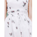 Elegant Scoop Neck  Sleeveless Floral Print Chiffon Dress For Women photo