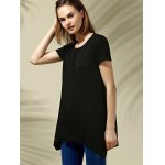 cheap Trendy Scoop Neck Short Sleeve Pure Color High Low Women's T-Shirt