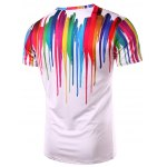 cheap 3D Colorful Vertical Splatter Paint T-Shirt