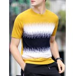 cheap Round Neck Color Block Splicing Design Loose-Fitting Short Sleeve T-Shirt For Men