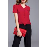 Red Buttoned Silk Top