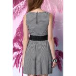 cheap White and Black Striped Dress