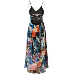 cheap Fashion Cami High Waisted Backless Print Maxi Dress For Women