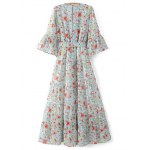 cheap Stylish V Neck 3/4 Sleeve Full Floral Print Women's Maxi Dress