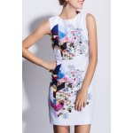 Rose Print Sleeveless Bodycon Dress deal