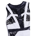 Lace Spliced Sleeveless Bodycon Dress for sale