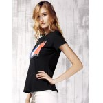 Women's Chic Round Neck Short Sleeve Flag Pattern T-Shirt deal