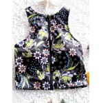 Stylish Zipper Fly Design Floral Print Women's Swimsuit for sale