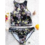 Stylish Zipper Fly Design Floral Print Women's Swimsuit deal