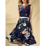 Buy Vintage Round Neck Sleeveless Floral Print Slimming Women's Dress XL PURPLISH BLUE