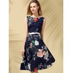 cheap Floral Print Fit and Flare Midi Dress