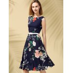 Floral Print Fit and Flare Midi Dress deal