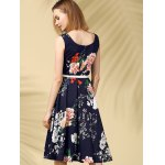 Vintage Round Neck Sleeveless Floral Print Slimming Women's Dress for sale