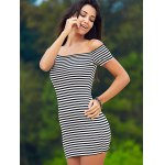 cheap Sweet Cold Shoulder Striped Ribbed Women's Dress