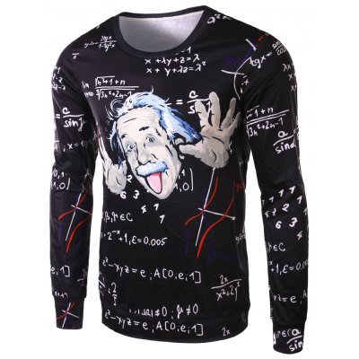 Fashion Slimming Round Neck 3D Mathematician Pattern Long Sleeve Polyester T-Shirt For Men