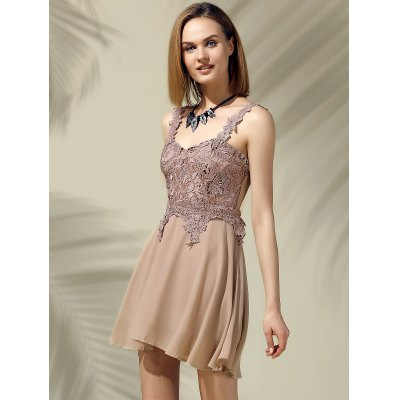 Glamourous Sweetheart Neck Lace Patchwork Chiffon Dress For WomenWomens Clothing<br>Glamourous Sweetheart Neck Lace Patchwork Chiffon Dress For Women<br><br>Style: Cute<br>Material: Polyester<br>Silhouette: A-Line<br>Dresses Length: Mini<br>Neckline: Sweetheart Neck<br>Sleeve Length: Sleeveless<br>Pattern Type: Solid<br>With Belt: No<br>Season: Spring,Summer<br>Weight: 0.420kg<br>Package Contents: 1 x Dress
