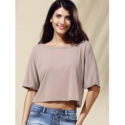 Style Jewel Collar Half Sleeve Solid Color Crop Top