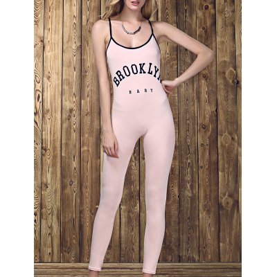 Strappy Backless Letter Print Jumpsuit  For Women
