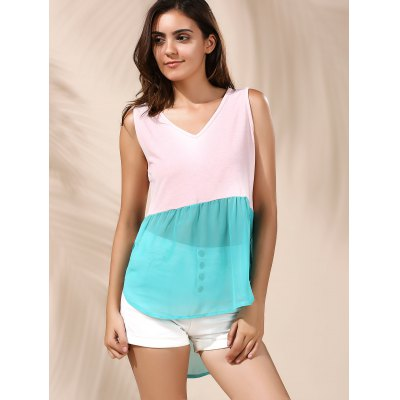 Refreshing Color Block Chiffon Tank Top For WomenWomens Clothing<br>Refreshing Color Block Chiffon Tank Top For Women<br><br>Material: Polyester<br>Clothing Length: Long<br>Pattern Type: Patchwork<br>Style: Fashion<br>Weight: 0.109kg<br>Package Contents: 1 x Tank Top