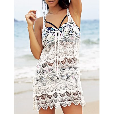 Chic U Neck Sleeveless Crochet Pattern White Cover-Up For Women