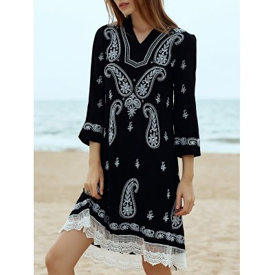 Vintage V-Neck 3/4 Sleeve Paisley Embroidered Women's Midi Dress