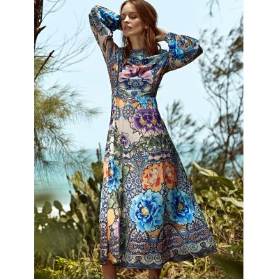 Stylish Round Neck Long Sleeve Full Floral Women's Maxi Dress
