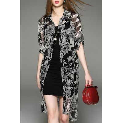 Asymmetric Printed Shirt Dress and Tank Top Twinset
