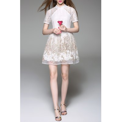 Stand Collar Tiny Floral Lace Spliced Dress