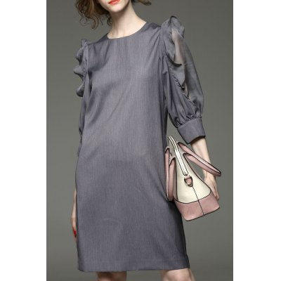 Ruffled Sleeve Solid Color Dress