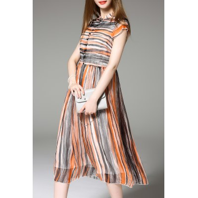 Striped Single-Breasted Dress