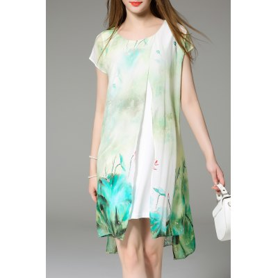 Faux Twinset Printed Dress