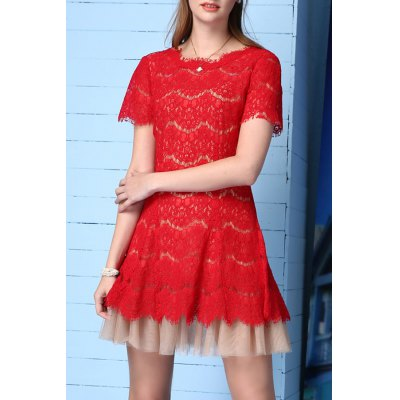 A-Line Voile Splicing Dress