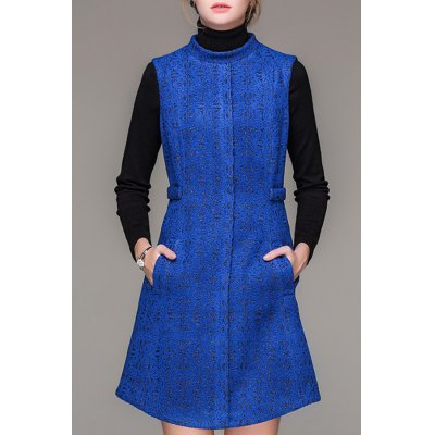 Jacquard Stand Collar Worsted Dress