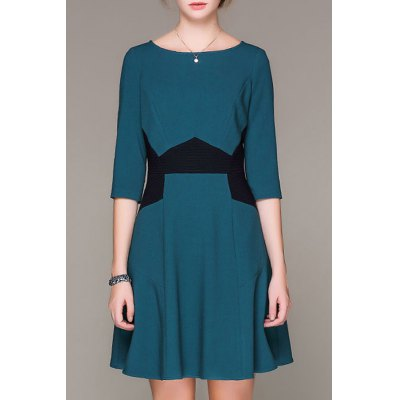 Color Block Round Collar Dress